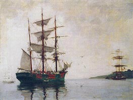 Timber Barque off Pendennis, 1897 by Tuke | Painting Reproduction