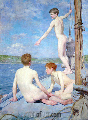 The Bathers, 1889 | Tuke | Gemälde Reproduktion