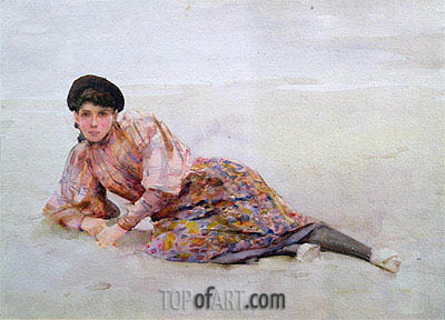 Girl on the Beach, undated | Tuke | Painting Reproduction