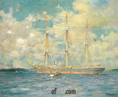 A French Barque in Falmouth Bay, 1902 | Tuke | Painting Reproduction
