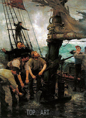 All Hands to the Pumps, c.1888 | Tuke | Painting Reproduction