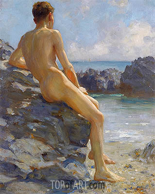 The Bather, 1924 | Tuke | Painting Reproduction