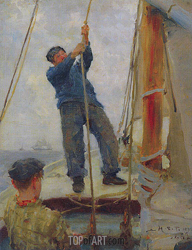 Hoisting the Mainsail, 1890 | Tuke | Painting Reproduction