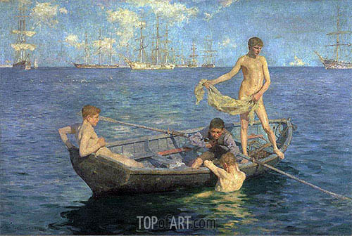 August Blue, c.1893/94 | Tuke | Painting Reproduction
