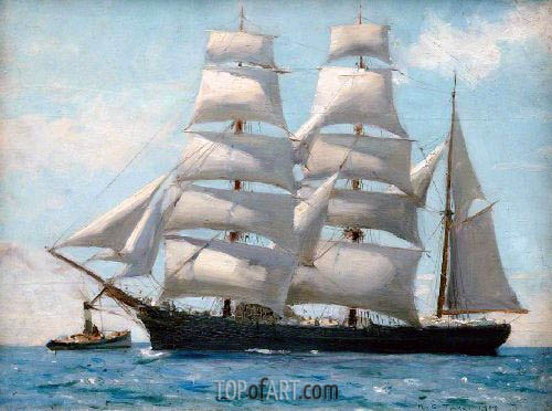 Barque in Full Sail Dropping Her Tug, 1888 | Tuke | Painting Reproduction
