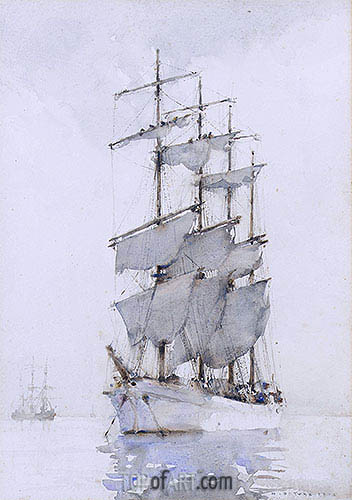 Four-Masted Barque, 1914 | Tuke | Painting Reproduction