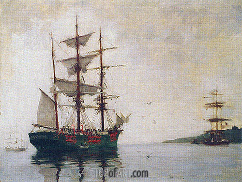Timber Barque off Pendennis, 1897 | Tuke | Gemälde Reproduktion