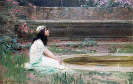 A Young Girl by a Pool | Herbert James Draper | Painting Reproduction