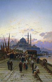 The Galata Bridge, Constantinople, undated by Hermann David Salomon Corrodi | Painting Reproduction