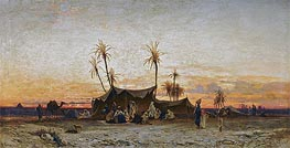 An Arab Encampment at Sunset | Hermann David Salomon Corrodi | Painting Reproduction