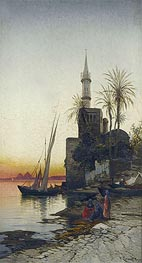 On the Banks of the Nile, undated by Hermann David Salomon Corrodi | Painting Reproduction