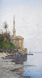 On the Banks of the River Nile, undated by Hermann David Salomon Corrodi | Painting Reproduction