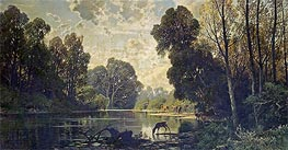 A Tranquil Wooded Scene with Deer Drinking from a Pond | Hermann David Salomon Corrodi | Painting Reproduction