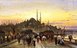 The Golden Horn, Galata Bridge, Constantinople | Hermann David Salomon Corrodi | Painting Reproduction