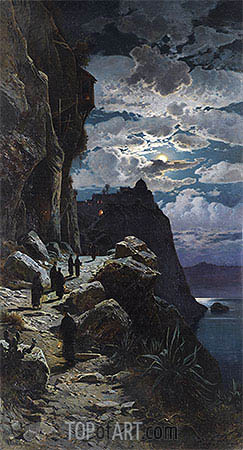Passage of the Monks to Mount Athos Monastery, undated | Hermann David Salomon Corrodi | Painting Reproduction