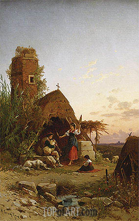 Gypsies in the Campagnia, undated | Hermann David Salomon Corrodi | Painting Reproduction