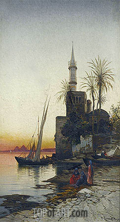 On the Banks of the Nile, undated | Hermann David Salomon Corrodi | Painting Reproduction