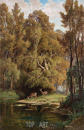 Scene in the Forest with Deers, undated | Hermann David Salomon Corrodi | Painting Reproduction