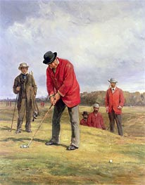 George Glennie Putting at Blackheath with Putting Cleek, 1881 von Heywood Hardy | Gemälde-Reproduktion