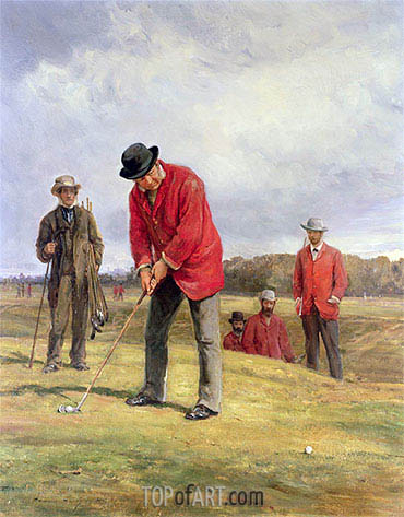 George Glennie Putting at Blackheath with Putting Cleek, 1881 | Heywood Hardy | Gemälde Reproduktion