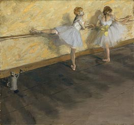 Dancers Practicing at the Barre, 1877 by Degas | Painting Reproduction