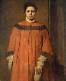 Girl in Red, c.1866 by Degas | Painting Reproduction