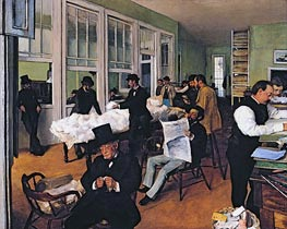 The Cotton Exchange in New Orleans, 1873 by Degas | Painting Reproduction