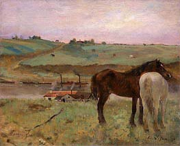 Horses in a Meadow | Degas | Painting Reproduction