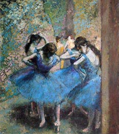 Dancers in Blue, 1890 by Degas | Painting Reproduction
