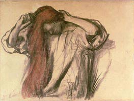 Woman Combing her Hair , undated von Degas | Gemälde-Reproduktion