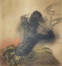 Seated Woman Adjusting Her Hair, c.1884 by Degas | Painting Reproduction