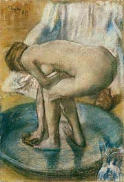 Woman Bathing in a Shallow Tub, 1885 von Degas | Gemälde-Reproduktion
