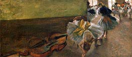 Dancers in the Rehearsal Room with a Double Bass, c.1882/85 by Degas | Painting Reproduction