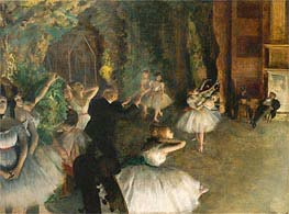 The Rehearsal of the Ballet Onstage, c.1874 by Degas | Painting Reproduction