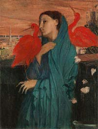 Young Woman with Ibis, c.1860/62 by Degas | Painting Reproduction