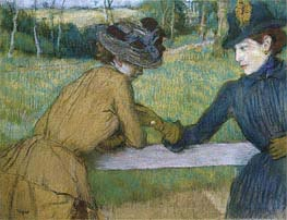 Two Women Leaning on a Fence Rail | Degas | Painting Reproduction