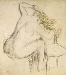 A Seated Nude Woman Styling her Hair | Degas | Painting Reproduction