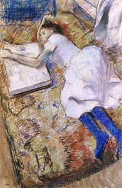Young Girl Stretched Out Looking at an Album | Degas | Painting Reproduction