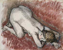 Kneeling Nude Woman, c.1889/95 by Degas | Painting Reproduction