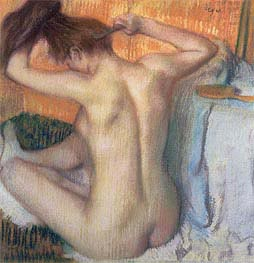 Woman Combing Her Hair, c.1886 by Degas | Painting Reproduction