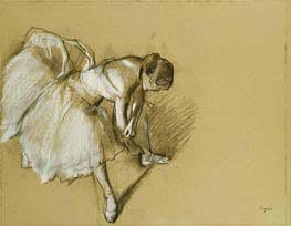 Dancer Adjusting her Shoe, c.1890 by Degas | Painting Reproduction