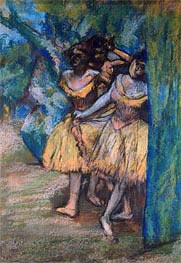 Three Dancers with a Backdrop of Trees and Rocks | Degas | Painting Reproduction