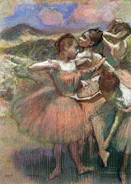 Four Dancers on Stage, undated by Degas | Painting Reproduction