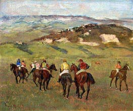 Jockeys on Horseback before Distant Hills | Degas | Painting Reproduction