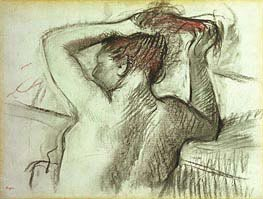 Nude Combing her Hair | Degas | Painting Reproduction