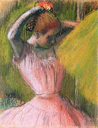 Dancer Arranging Her Hair, c.1900/12 by Degas | Painting Reproduction