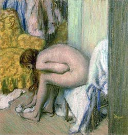 After the Bath, Woman Drying her Left Foot, 1886 by Degas | Painting Reproduction