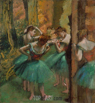 Dancers, Pink and Green, c.1890 | Degas | Gemälde Reproduktion