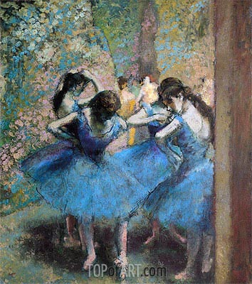Dancers in Blue, 1890 | Degas | Painting Reproduction