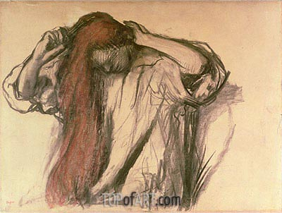 Woman Combing her Hair , undated | Degas | Painting Reproduction